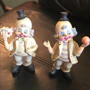 Hard plastic clown figurines